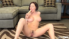 Krissy Lynn likes to pose and tease then play with toys to please herself