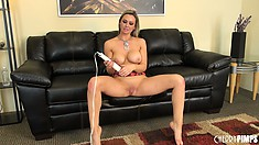 Abbey Brooks moans like a slut while masturbating with a massager
