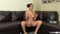 Brunette Isis shows her cunt and ass, then sits and talks it up