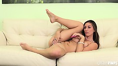 Rilynn Rae isn't so shy now that she's naked with a vibrating toy in her snatch