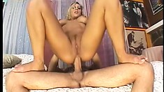 Buxom blonde moves on top of the young stud to have his hard cock filling her ass