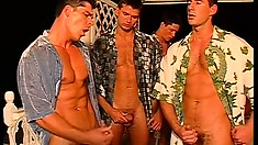 Body builders gather for a party and turn it into a gay orgy