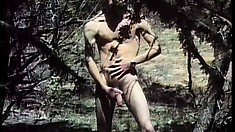 In the woods, a stud has a guy sucking his dick and begging him to fuck his ass