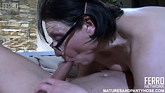 Chubby brunette housewife in nylons gets fucked like a bitch