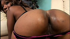Tya fucks and sucks two big black cocks and takes their facials